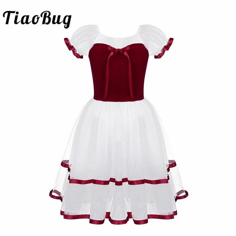 TiaoBug Kids Girls Openwork Puff Sleeve Velvet Bodice Professional Tutu Ballet Leotard Long Dress Children Lyrical Dance Costume