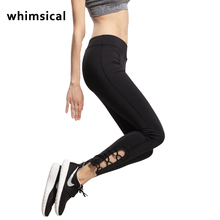 Whimsical Womens Yoga Pants Active Running Workout Fitness Leggings Dance Pants Cutout Tie Cuff Slim Jogger Workout Tights
