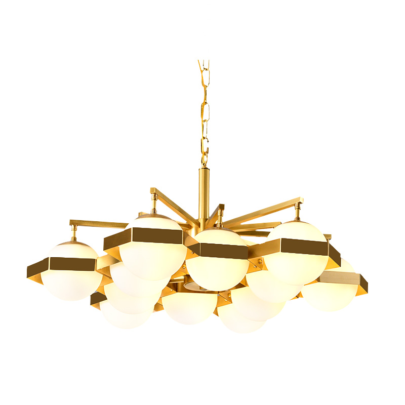 Post modern 12 head full copper Chandelier modern frosted glass shade combo droplight foyer bedroom restaurant LED Hanging light
