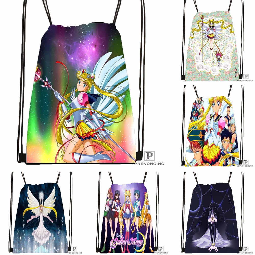 Custom Sailor Moon Drawstring Backpack Bag Cute Daypack Kids Satchel (Black Back) 31x40cm#180531-02-08