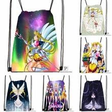 Custom Sailor Moon Drawstring Backpack Bag Cute Daypack Kids Satchel (Black Back) 31x40cm#180531-02-08