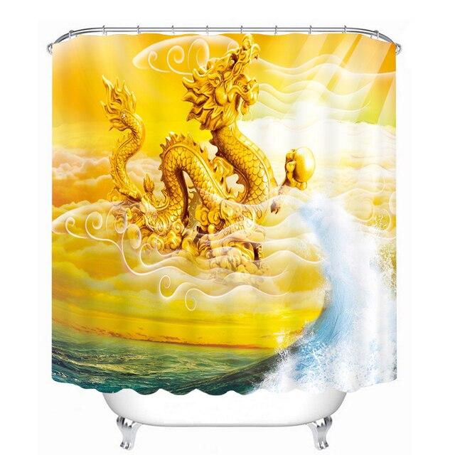 MYRU 3D Print Waterproof Dragon Shower Curtains Bath Products Bathroom Decor With Hooks