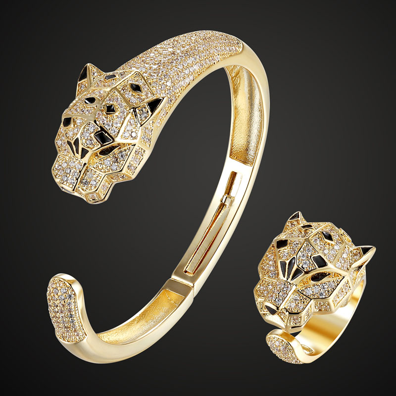 Luxury Brand Tiger bangle ring jewelry sets Fashion Women men Gold color bangle ring cubic zircon