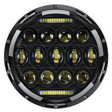 7inch 75W Round Car LED Fog Lights Halo Ring Amber Turn Signal Halo Headlamp For Jeep Wrangler JK Harley Motorcycle Offroad