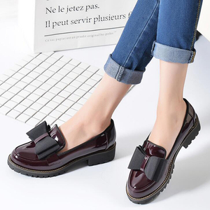 Image 2 - Butterfly Knot Women Flat Shoes Plus Size 42 Round Toe Bright Leather Shoes Woman England Style Spring Luxury Loafers