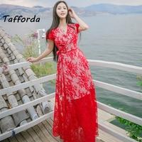 2016 Summer New Korean Fashion Woman S V Collar Short Sleeve Lace Halter Dress Casual Beach