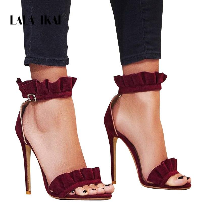 LALA IKAI High Heels Sandals Women Ruffle Sandals Fashion Summer Thin Heels Buckle Strap Ladies Wedding Party Shoes XWC1023-5 недорго, оригинальная цена