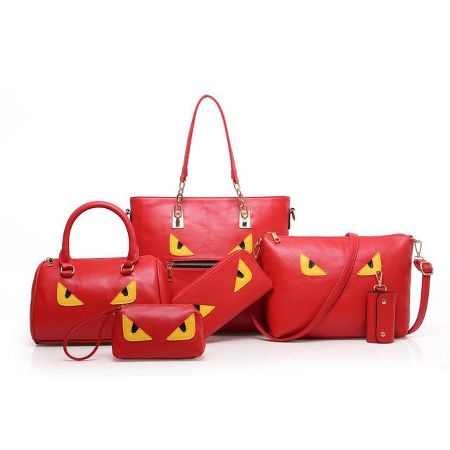 Women Brand Bag Fashion PU Leather Women Leather Handbag Casual Oil Picture Pattern Women Shoulder Bag Fashion Female Tote 5 Set
