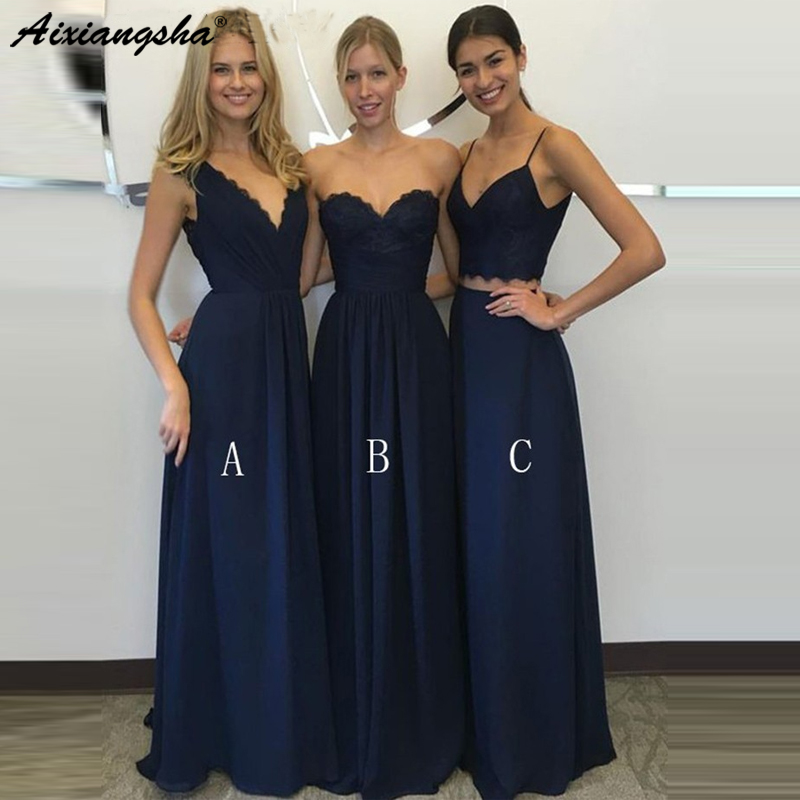 Mixed Navy Blue Chiffon Long   Bridesmaid     Dresses   2019 Sexy V-Neck Spaghetti Straps 2 Pieces vestidos de fiesta de noche