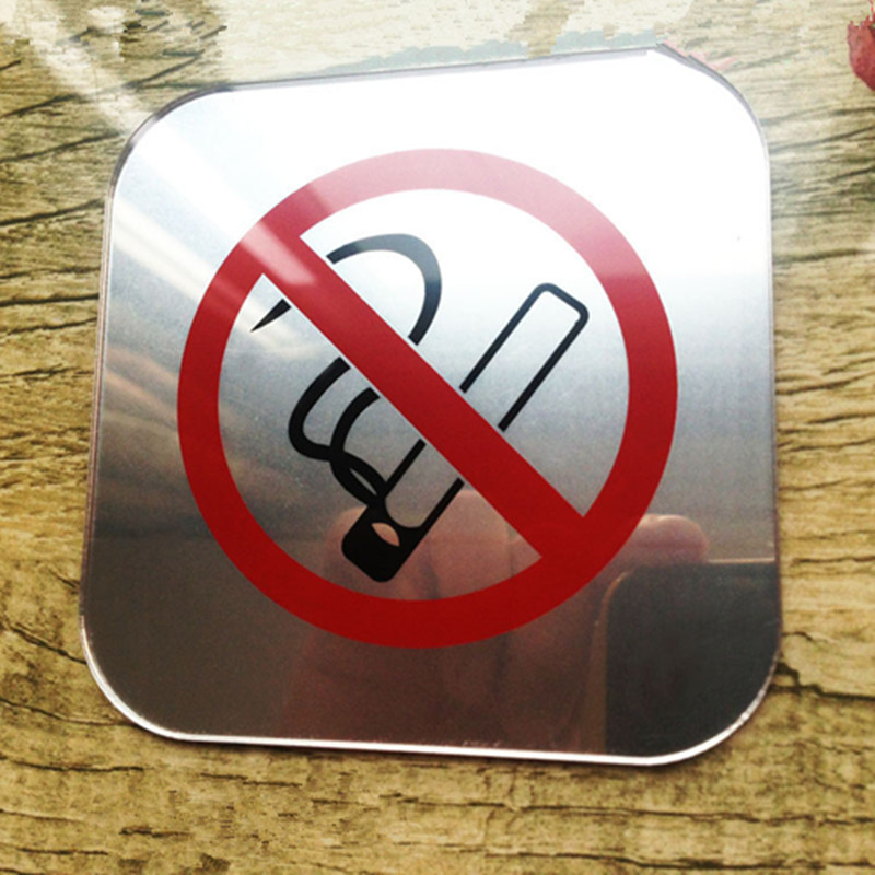 Acrylic Mirror No Smoking Tip Sticker Signage Acrylic Silk Screen No Smoking Sign Do not smoke Sign