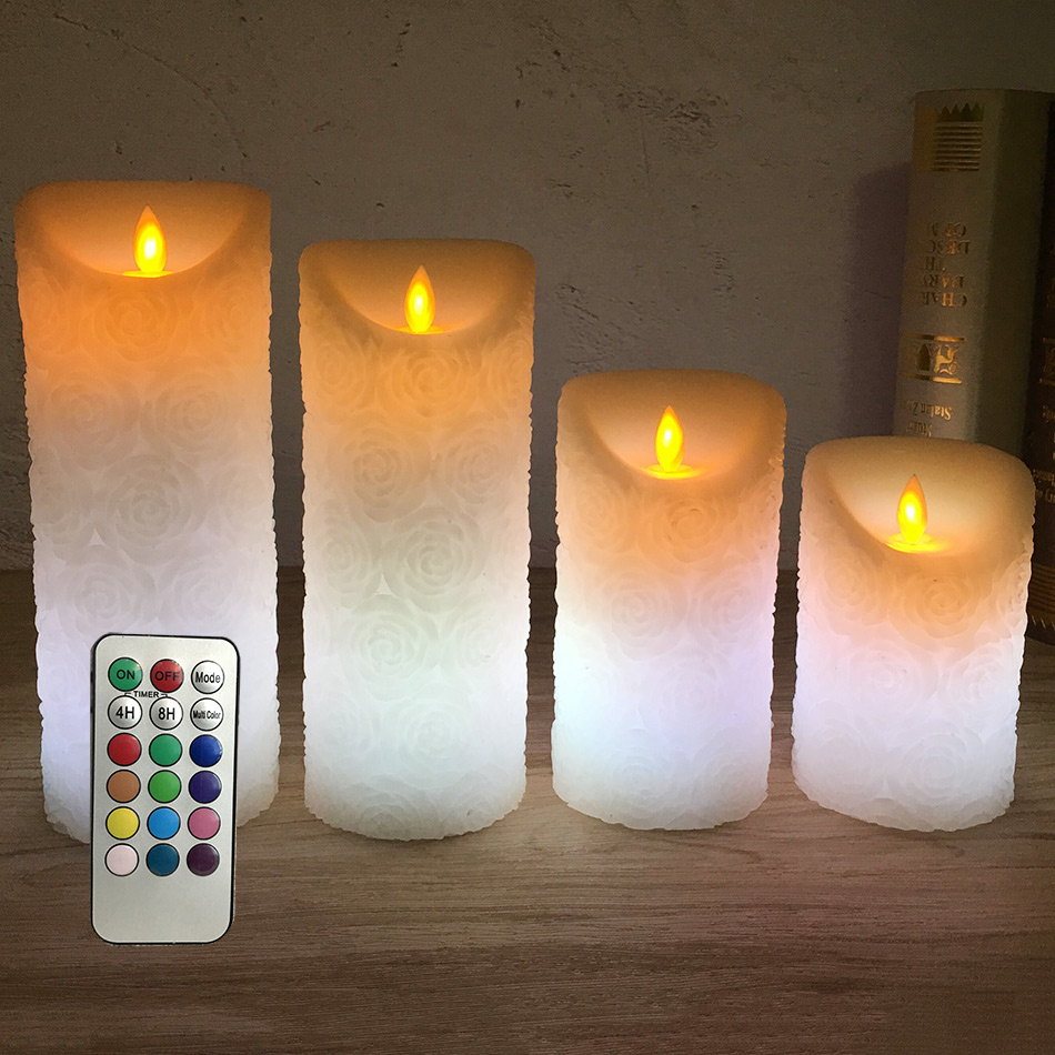 wireless remote led candle night light,Made by ivory wax and timing, Unique rose embossed finishing, novelty led table light dfl 3x6 inch flameless real wax pillar electronic led candle with timer with embossed gold pearl