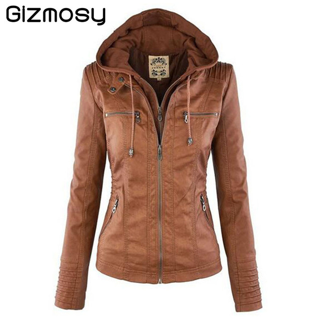 Womens Hooded Faux leather Jacket 2016 New Autumn Winter Leather Jacket Women Short Leather Coat Ladies Slim Motorcycle BN049