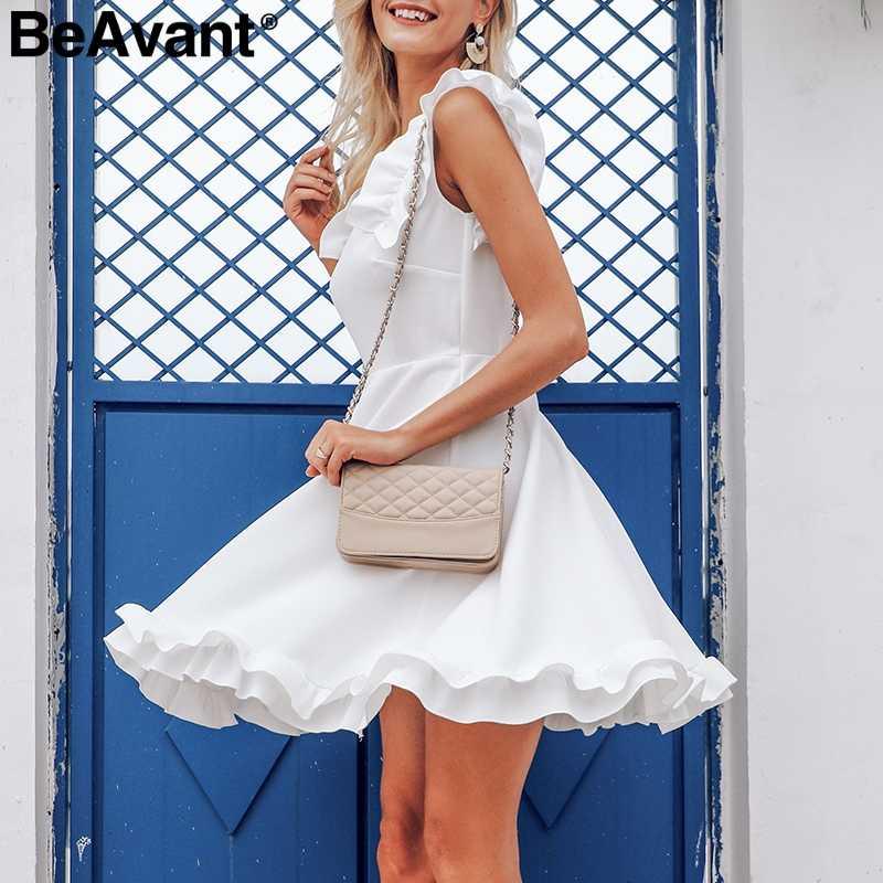 BeAvant без спинки гофрированное женское белое платье повседневное Vestidos элегантное Плиссированное летнее платье 2019 Высокая талия сексуальные короткие платья для вечеринок