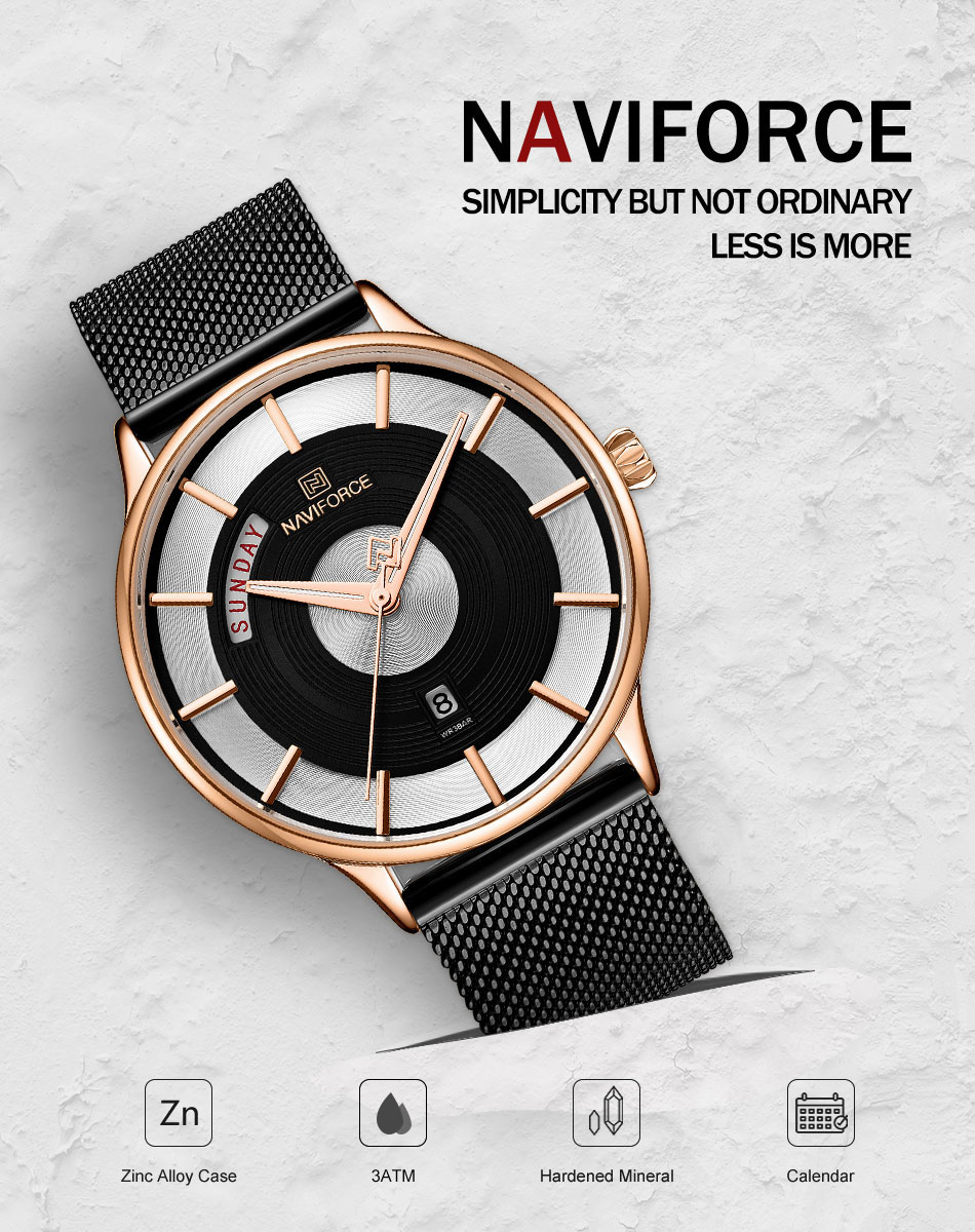 NAVIFORCE New Arrival Men Watch Top Brand Luxury Quartz Clock Male Sport Stainless Steel Mesh Wrist Watch relogio masculino 2019 (1)