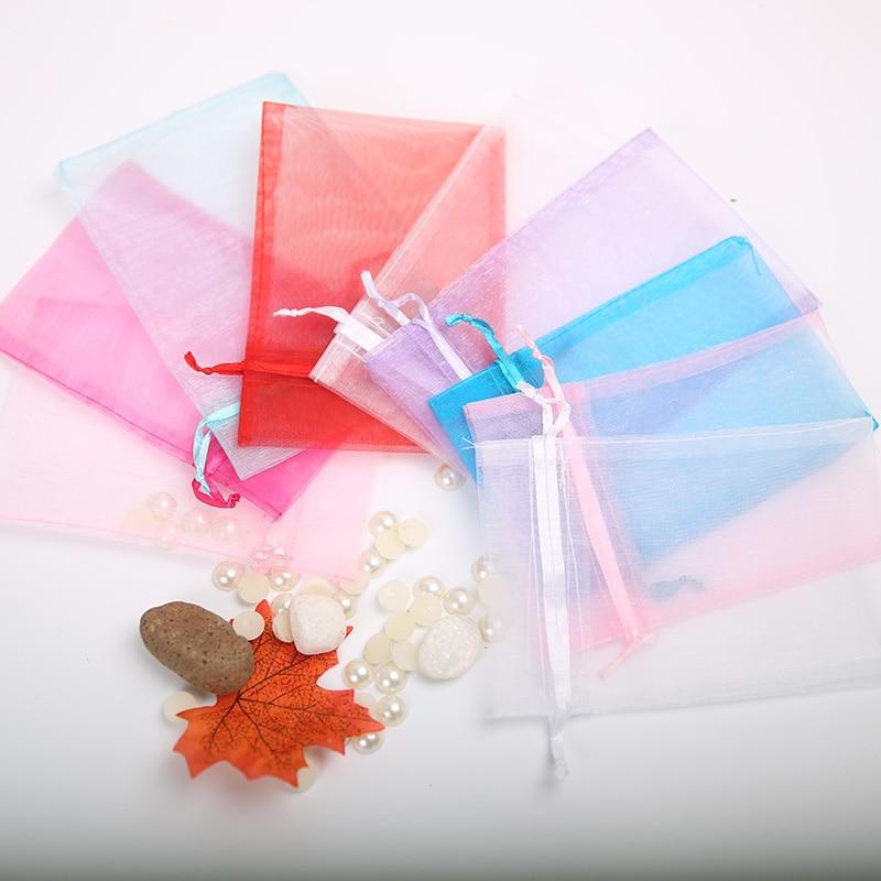 50pcs Transparent Hard Yarn Bag 10 * 15cm Organza Bundle Pocket Wedding Holiday Party Candy Bag Christmas Transparent Gift Bag