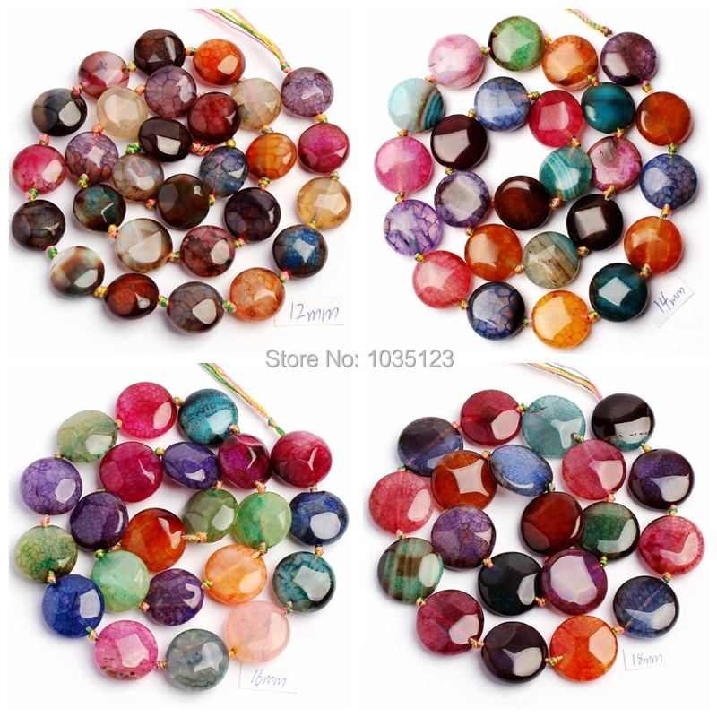 """Free Shipping 12,14.16.18,20mm Pretty Faceted Cracked Multicolor Agates Coin Shape Loose Beads Strand 15"""" <font><b>Jewellery</b></font> Making wj29"""