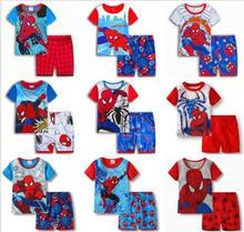 2019 Casual Homewear Pajamas Cartoon Cotton Spiderman Childrens Sets Baby Boy T-shirt Shorts Kids Clothing Summer