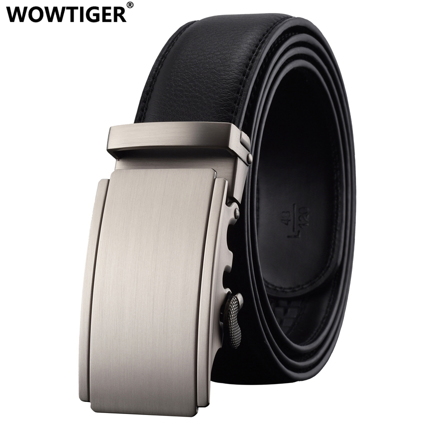 WOWTIGER New Gun color men`s Fashion brand Automatic buckle belt Aloi buckle Genuine Leather Belt Luxury for men