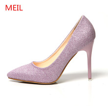 все цены на MEIL  Wedding bridesmaid dress shoes woman sexy high heels ladies shoes bling bling paillette thin heel pointed toe pumps онлайн