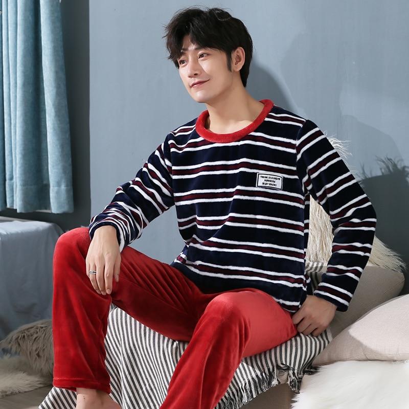 Winter Flannel Pajamas Set For Men Coral Fleece Thickened Homewear Suit Warm Sleepwear Boys Pijamas Suit Plus Size 3xl 4xl 5xl