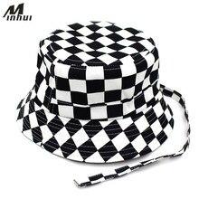 Minhui 2018 nuevos negro blanco Plaid sombreros para hombres pesca plana  Cap mujeres Hip Hop Bape sombrero ffb1b3e8fa3