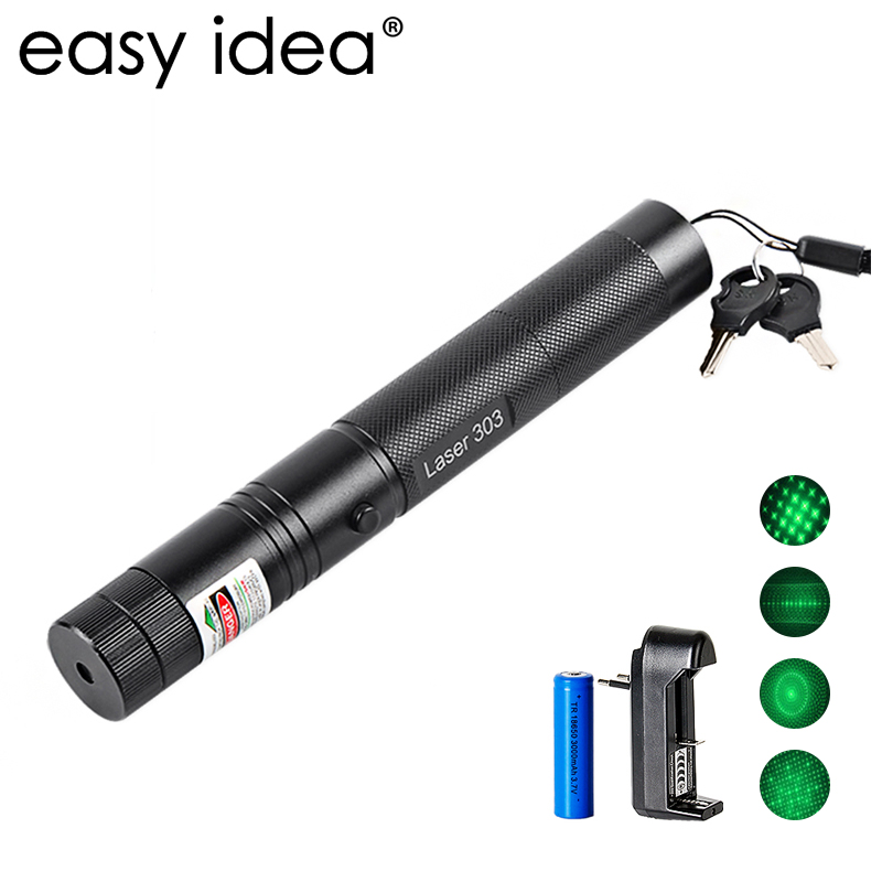 EASYIDEA 5 MW puntero láser de alta potencia 532nm 303 puntero láser verde pluma ajustable partido con batería recargable 18650