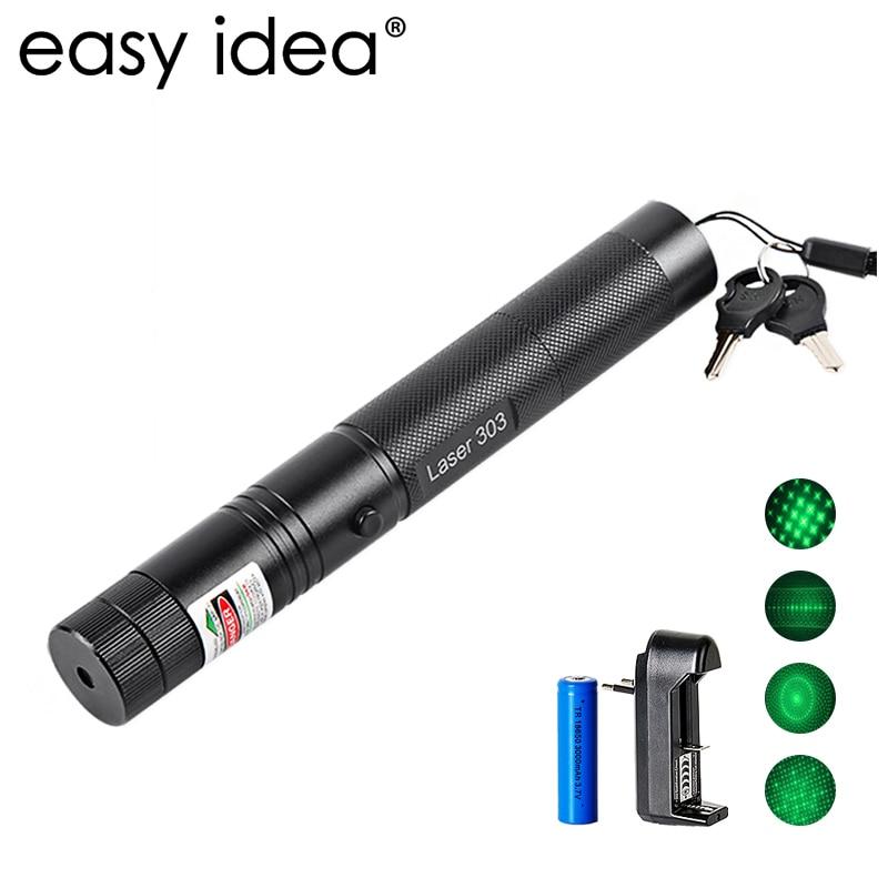 EASYIDEA 5 mW puntero láser de alta potencia 532nm 303 lápiz puntero láser verde ajustable con batería recargable 18650