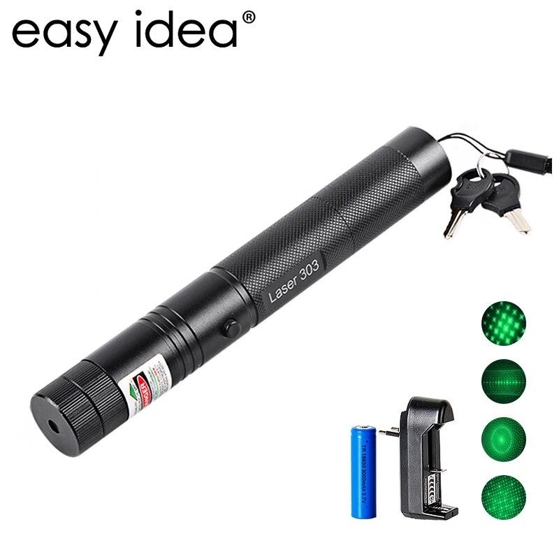 EASYIDEA 5 mw Puntatore Laser Ad Alta Potenza 532nm 303 Puntatore Laser Verde Penna Partita di Masterizzazione Regolabile Con Batteria Ricaricabile 18650