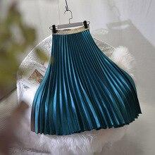 Sherhure 2019 באיכות גבוהה נשים קיץ קפלים חצאית למתוח גבוהה מותן נשים ארוך חצאית נקבה Jumper נשים Midi חצאית Saia