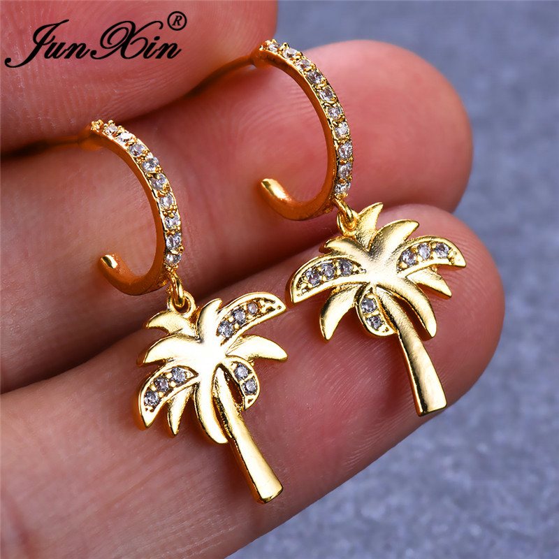 JUNXIN Boho Coconut Tree Drop Earrings For Women Pave White Crystal CZ Yellow Gold Filled Piercing Hook Earrings Turkish Jewelry