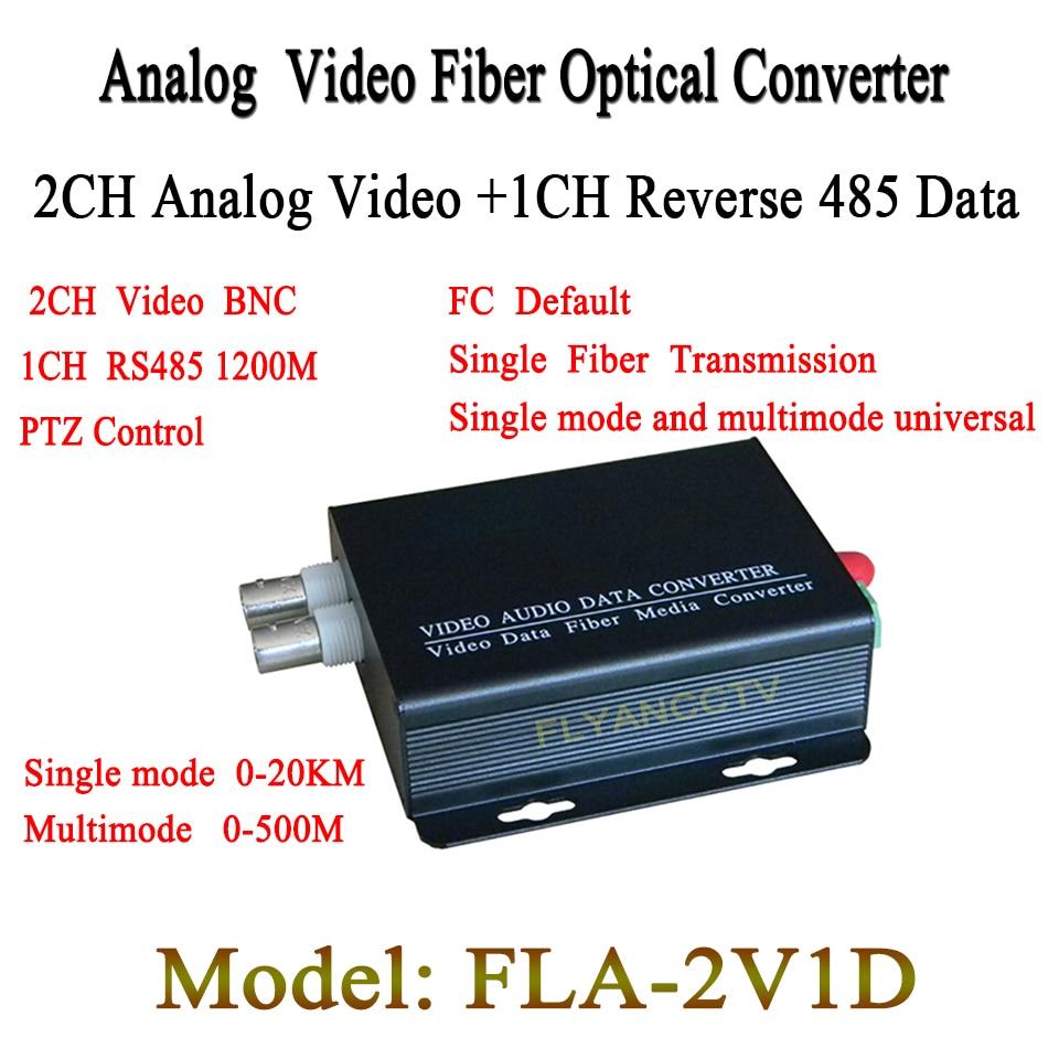 2CH digital Video Optical converter fiber optic video optical transmitter and receiver multiplexer 2CH +485 Data FC 20KM