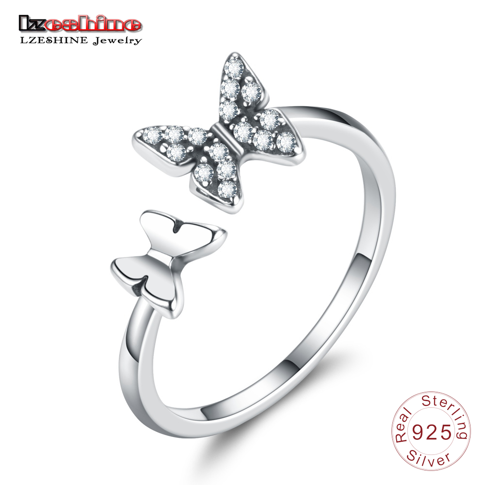 LZESHINE Authentic 925 Sterling Silver Ring Cute Butterfly Open Adjustable Finger Rings For Women Birthday Gifts  T010070-B mariposa en plata anillo