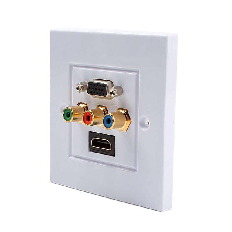 hdmi 3rca vga composite audio video socket wall face plate panel outlet 73252 in electrical. Black Bedroom Furniture Sets. Home Design Ideas