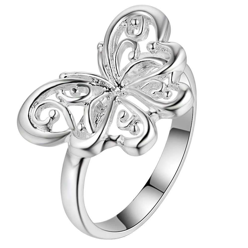 beautiful butterfly bling Silver plated Ring Fashion Jewerly Ring Women&Men , /SQBVJKTA IHVDMWVN