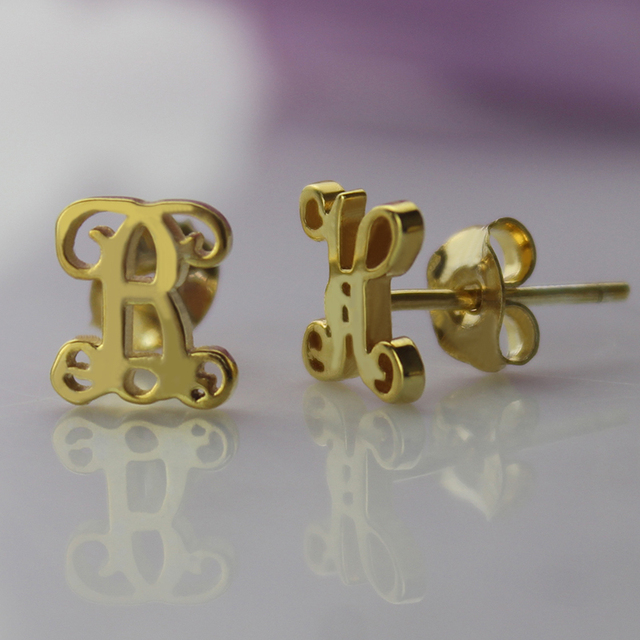 Gold Initial Stud Earrings Personalized Monogram Stud Earrings Name Stud Earrings Bridesmaid Mother Gift