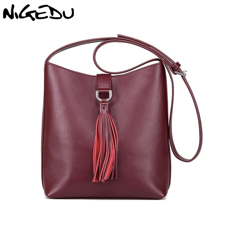 NIGEDU Brand Tassel Bucket Bag Genuine Leather Crossbody Messenger bag for Women Shoulder Bag Small Pouch Handbag bolsa franja genuine leather studded satchel bag women s 2016 saffiano cute small metal rivet trapeze shoulder crossbody bag handbag