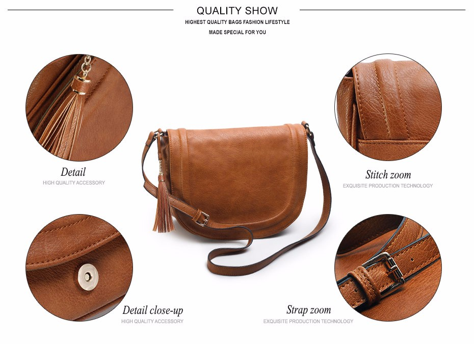 AMELIE GALANTI casual crossbody bag soft cover solid saddle fashion women messenger bags high quality shoulder bag for women   (8)