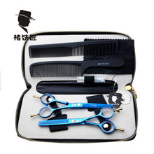 Professional Haircut Hairdressing tools Cutting scissors+Thinning scissors blue 6cr13 Stainless Steel 440c SMITH CHU