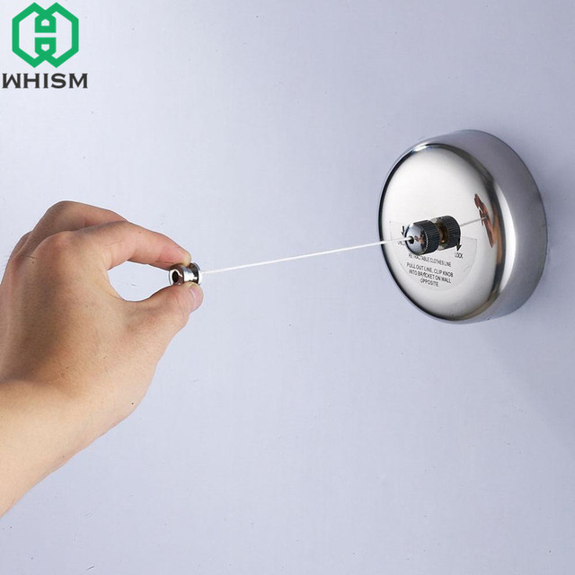 Whism 2 8m Clothes Line Retractable Stainless Steel Indoor Clothesline Hotel Style Drying Tendedero Retractil