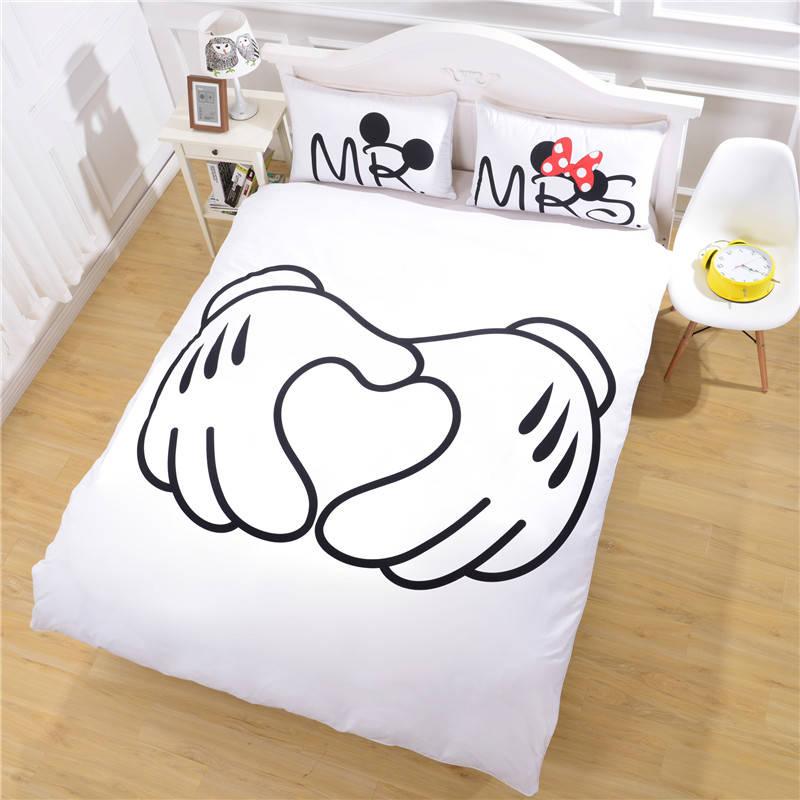 Mickey Mouse Bedding Set Heart Bedding Plain Printed Sheet Set Christmas Gift Soft Home Textiles Bedroom
