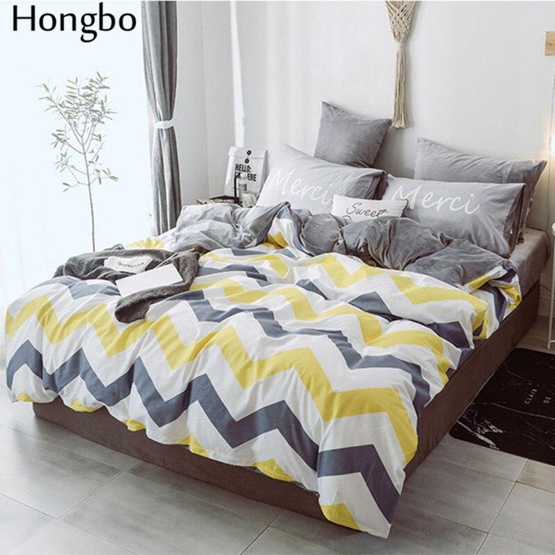 Hongbo хлопок + фланель многофункциональный AB с обеих сторон Серый Белый Желтый волнистый узор зимний пододеяльник - 2