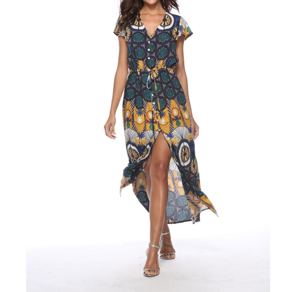 100% Quality Vestidos De Verano Women's Summer Bohemian Printed Printing V-neck Print Curve Print Dress Beach Holiday Dress платья #15
