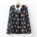 Brand New Women Cute Cat Print Special Collar Long Sleeve Shirt  Blouse Casual  tops Blusas