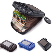 NoEnName Fashion Men Wallet Credit Card Holder Genuine Leather Blocking Zipper Pocket Thin ID Protection Purse