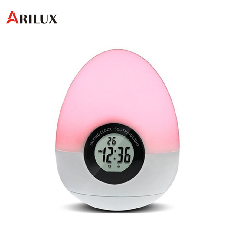 ARILUX Night Light Egg Shape Digital Alarm Clock LED Night Light Colorful Touch Dimmable Bedside Table Lamp Indoor Lighting