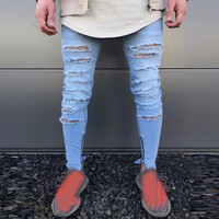 Men S Jeans Stretchy Ripped Skinny Jeans Destroyed Slim Fit Denim Pants Classic Male Denim Skinny