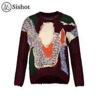 Sishot Women Casual Knitwear 2017 Autumn Winter Burgundy Feather Loose Color Block Bohemia O Neck Patchwork