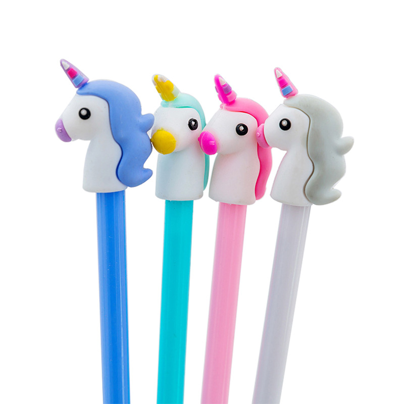 1 Pcs Girls Heart Cartoon Unicorn Neutral Pen Students Sign Pen Writing Examination Pen Office Black Water Pen Kawaii Stationary