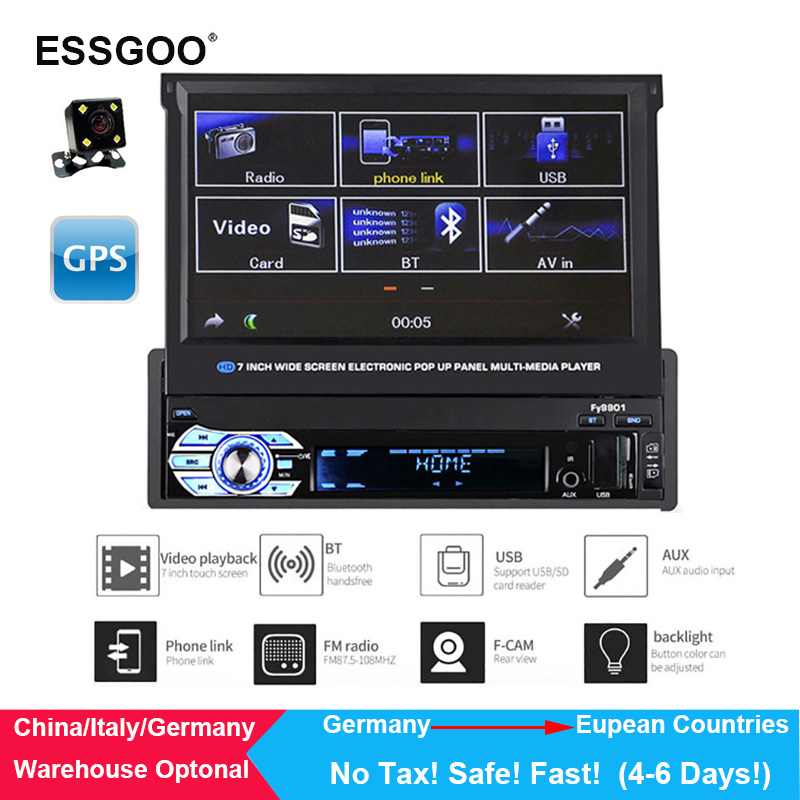 RK-7158G автомобиля радио Media мультимедийный плеер транспортных средствах полный выдвижной Экран MP5/MP4/MP3 gps навигации, камеры заднего вида