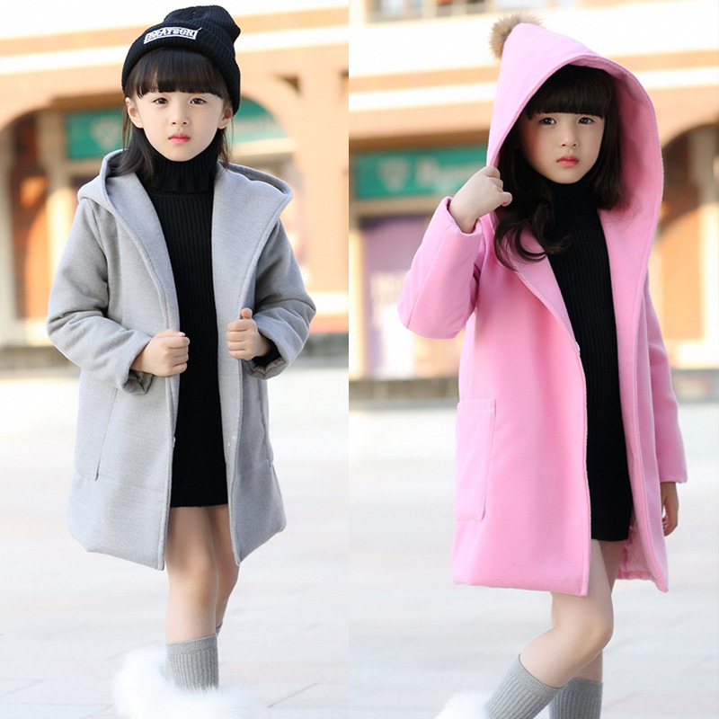 Retail 2017 New Autumn/Winter girls Fashion outwear Children Woolen Windbreaker Girls Coat Jacket Cotton Korea Style solid color